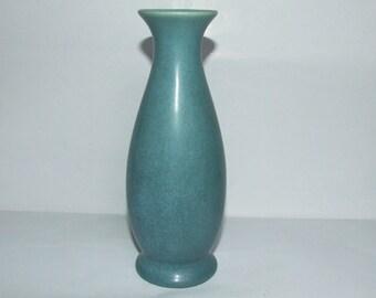 Minimalist Matte Turquoise Rookwood Vellum Pottery Vase - 357F