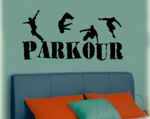 Parkour vinyl wall lettering decal with Parkour stunt silhouettes vinyl wall decal sticker