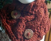Rust Knitted Cabled Neckwarmer with Handmade Polymer Clay Buttons