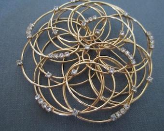 Big Massive Vintage Wirework Swirl Pin Brooch with Rhinestones