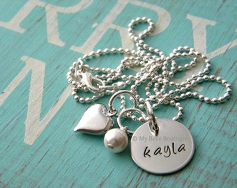 Personalized Hand Stamped Necklace with Silver Puffy Heart and Ivory Swarovski Pearl Charm