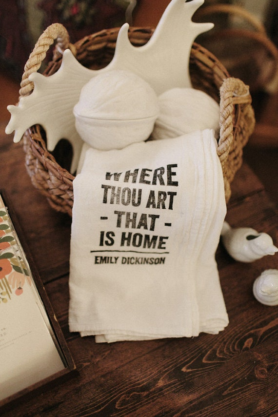 Items similar to Flour Sack Tea Towels - Home Quotes (set ...