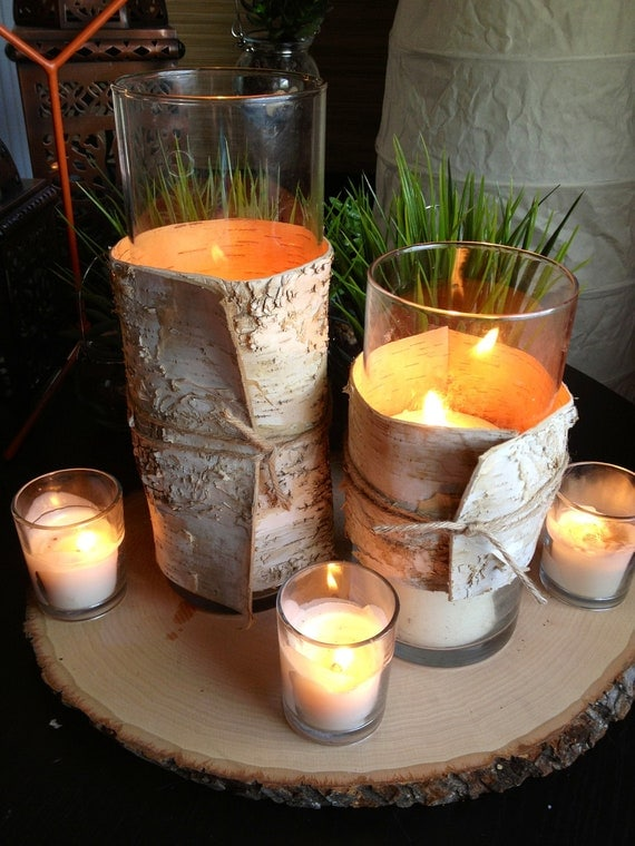 Items similar to birch bark wedding centerpiece wood