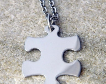 Stainless Steel Puzzle Piece Necklace