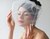 Birdcage Veil, Wedding Veil, Illusion Birdcage Veil, Beaded Bridal Veil, Short Veil