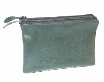 Hunter Green Lambskin Zippered Twin Pouch Cosmetic Case iPhone Wallet Handmade