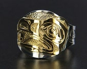 Raven and Sun Signet Ring Silver and 14k Gold Northwest Native American First Nations Jewelry