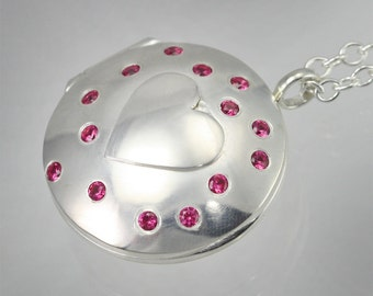 "Locket- Heart with Stones (Ruby)(24"") Made to Order"