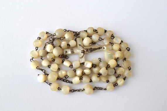 Vintage French Mother of Pearl Rosary with some Missing Beads