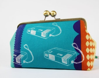 Metal frame clutch bag - Retro cameras on bright turquoise - Home purse / Vintage cameras / Rust orange teal blue / fall colors