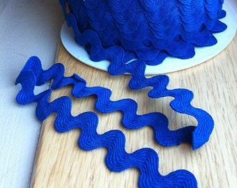 ROYAL BLUE Medium Blue Ric Rac trim - 11/16 inch wide (17 mm) - 5 yards