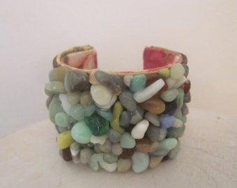 Cuff Bracelet,Turquoise,River Stones, Brown Suede,Vintage Fabric,OOAK