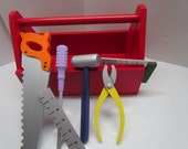 Child's  Red Wooden Tool Box with Tools~Photo Prop~Child's Wooden Toy~Toddler Toy~Birthday Gift~Holiday~Pretend Play~Building & Construction