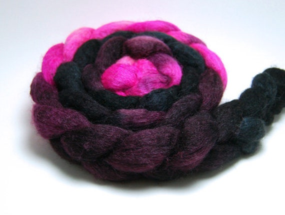 Knockout - 4 oz Pink Burgundy Black Handpainted Mixed BFL Tussah Silk Wool Roving Top