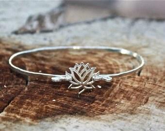 Lotus Flower Bracelet - Sterling Silver Yoga Jewelry, Lotus Flower Jewelry, Zen, Meditation, Lotus Bracelet, Yoga Bracelet