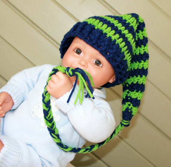 Baby Boy hat sport stocking cap elf crochet navy blue lime green 0-3 months newborn photo prop