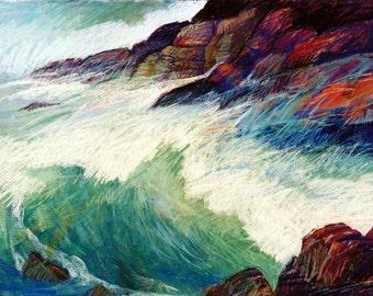 Seashore Surf Print, Rocky Shore, Pastel Painting, Coast Scene, Impressionist Art, Ocean Waves, Shoreline Surf, Wall Art, 7.5 x 10  Ltd. Ed.