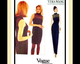 Vogue Designer Sewing Pattern -VERA WANG- Evening Gown -Cocktail Dress- Beautiful Fit -Illusion Contrast Yoke- Uncut- Size 12-16- OOP- Rare