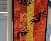 Fiery Kokopelli Tribal Table Runner Altar Red Orange Yellow Southwest Native