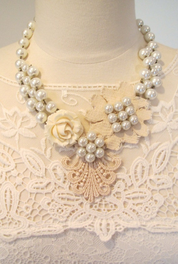 Bridal necklace- bridal jewelry- statement necklace- lace necklace- pearl necklace- vintage style- hand beaded lace-Sugared Almonds Necklace