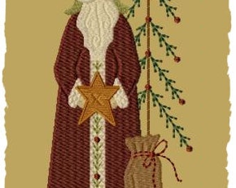 Primitive Machine Embroidery Design-Father Christmas--Version 1-- (4X4) INSTANT DOWNLOAD