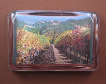 Italian Vineyard Painting Large Rectangle Glass Paperweight Home Decor
