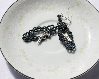 EARRINGS - Chandelier Open - Charcoal - Gray - Pistol - Free Standing Lace Embroidery