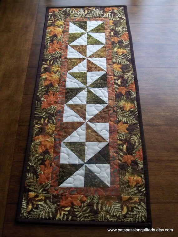Fall Leaves Table Runner Patchwork  Browns, Oranges, Golds, Greens
