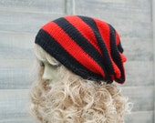 "Red and Black Stripey Slouch Hat, Hand Knitted, Skater, Vegan, Slouchy Beanie, Tam Hat, Dreads 22"" - 24"""