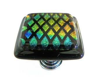 Glass Cabinet Knob in Diamonds Rainbow Etched Dichroic Glass - Artisan Knobs