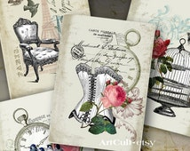 Printable images FRENCH EPHEMERA Digital Collage Sheet Shabby Vintage Gift Tags print-it-yourself Jewelry Holders Scrapbooking paper ArCult