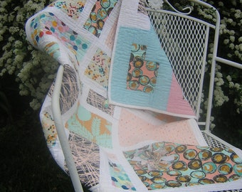 Modern Baby Quilt - baby habitat - all cotton - reversible