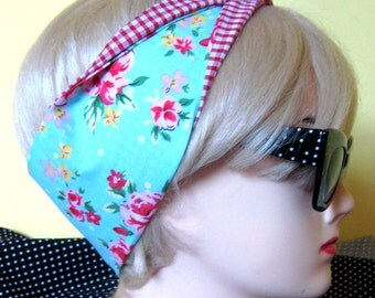 Shabby Chic Tea Roses and Gingham Fabric Hair Tie Head Scarf by Dolly Cool Polka dot