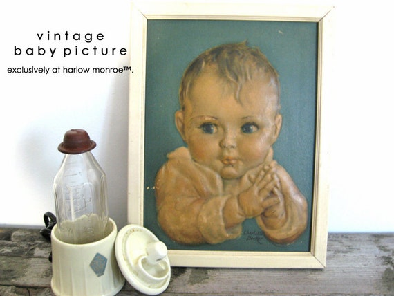 Vintage SHABBY CHIC Baby Print - Art Nursery Decor - Baby Picture
