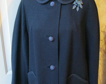 Vintage Navy woven coat, navy wool lightweight fifties style coat, navy coat braided trim, navy rope look buttons size 12-14 large