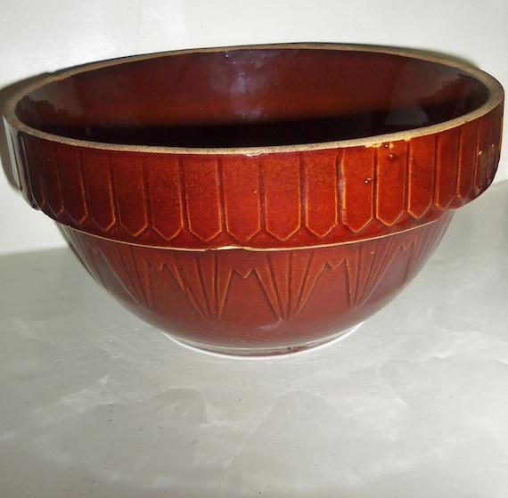 "Brown Crock Bowl Vintage Country Cottage Primitive 10"" mixing fruit bowl"