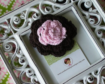 NEW----Boutique Two Toned Crochet Flower Clip-----Black and Pink---