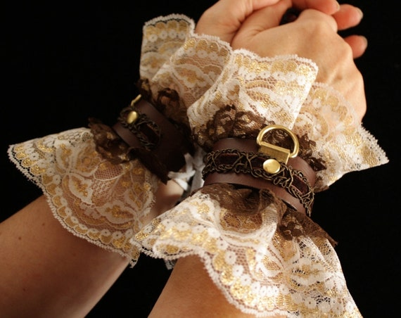 Steampunk Cuffs Leather & Lace Romantic Victorian sexy slave bracelets / bdsm cuffs, white lace, brass, brown leather