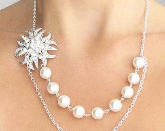 Bridesmaid Jewelry Crystal Necklace Bridal Jewelry Rhinestone Necklace Wedding Jewelry Bridal Necklace