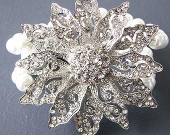 Bridal Bracelet Cuff Wedding Jewelry Rhinestone Bracelet Bridal Jewelry Statement Bracelet Bride Gift