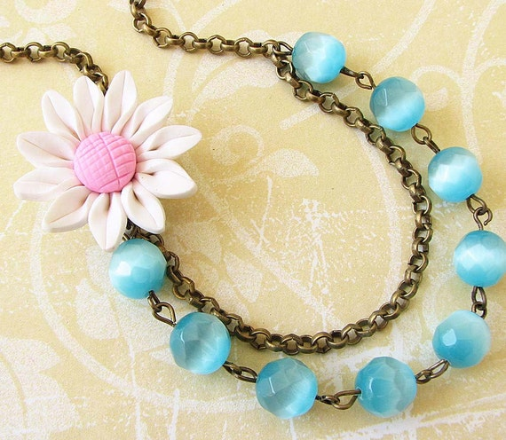 Bridesmaid Jewelry Set White Flower Necklace Statement Necklace Turquoise Jewelry Aqua Sunflower Jewelry Gift For Her