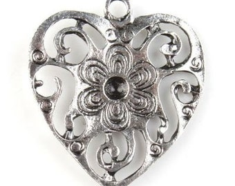 Antique Silver Charms Flower Hearts Pack Of 20