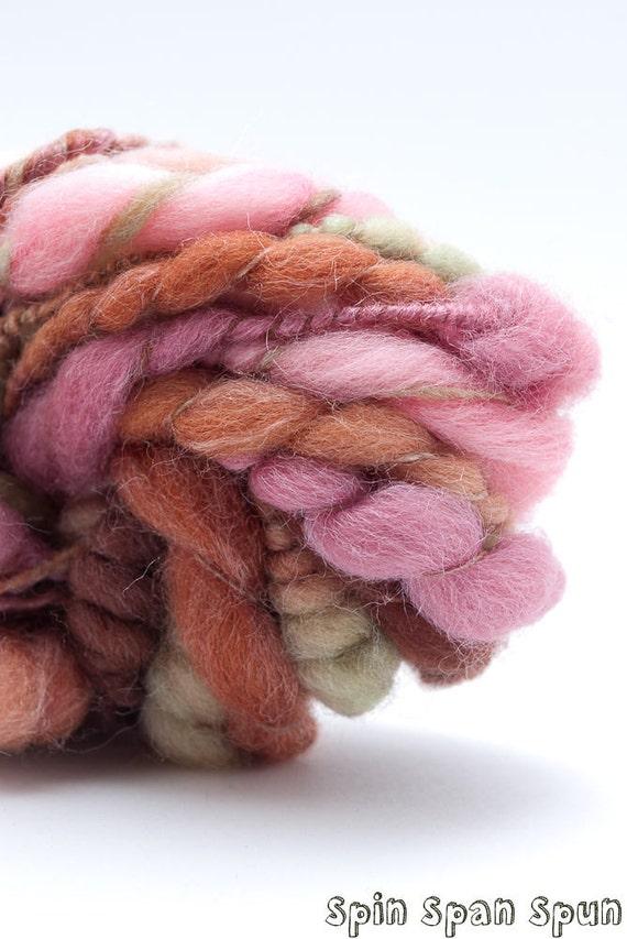 Tea Time, CoilSpun BeeHive Art Yarn, silk and merino, HandSpun HandDyed Yarn, 25 yards