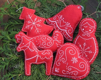 Scandinavian Embroidered Christmas Bowl Fillers/ Tree Ornaments/ Party favors