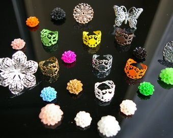50% Off  - CLEARANCE - 200 pcs Assorted ring settings and Cabochons