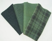 "Hand Dyed Wool Felt, OLIVE DRAB, Four 6.5"" x 16"" pieces in Earthy Green, Perfect for Rug Hooking, Applique and Crafts"