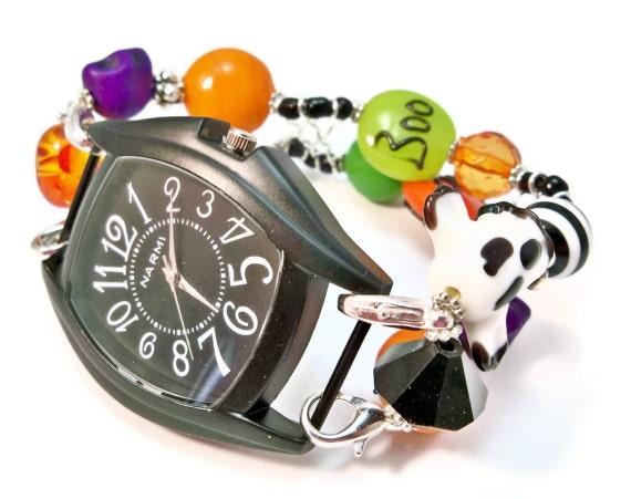 Halloween Jewelry Black and Orange Halloween Beads Interchangeable Watch Band Ladies Halloween Watch