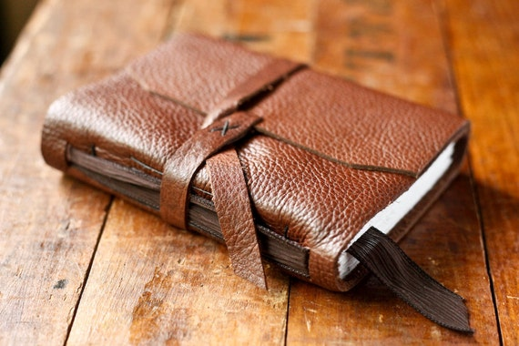 Leather Journal with Silk Ribbon Bookmark - Brown Handmade Journal