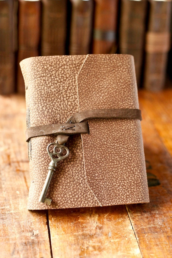 Leather Journal with Victorian Skeleton Key Closure