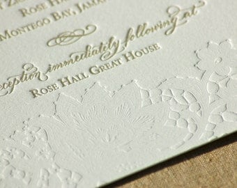 Letterpress Wedding Invitation featuring Hand Calligraphy and Lace Design DEPOSIT